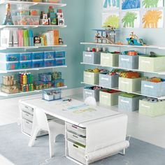 Organization of kid craft supplies - although I really like the coloring table too (just no room)
