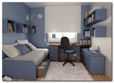 Blue bedroom & office
