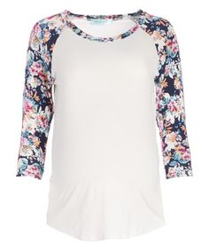 Loving this Chris & Carol Ivory & Navy Floral Maternity Raglan Tee on #zulily! #zulilyfinds