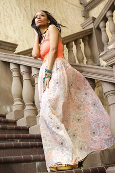 Coral Strapless Maxi Dress with Floral Skirt by Dimiloc