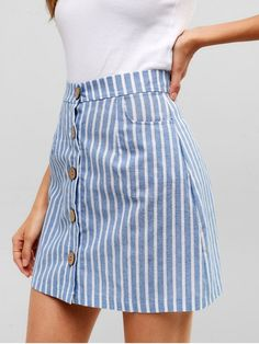 blue striped short skirts buttons up - Kleidung - Jupe Mode Outfits, Trendy Outfits, Fashion Outfits, Fashion Ideas, Club Outfits, Stripe Skirt, Striped Skirt Outfit, Patterned Skirt, Summer Skirts