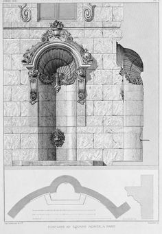 Design for a fountain on Square Monge, Paris
