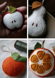 Felt apples, pears and oranges