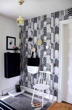 hanging cabinet pattern wallpaper hallway design
