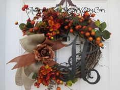 MONOGRAMMED FALL WREATH....Monogram Fall Door Decor..Fall Door Wreath...Autumn Door Decor Wreath...Housewarming Gift Wreath...Interior Decor by AutumnsEchoShoppe on Etsy