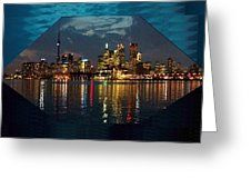 Shiva himalayan lord of peace greeting card hindusim avatar cn tower and toronto down town water front beauty at night hexagon poster greeting card by m4hsunfo