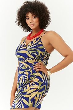 61f7698894ff Plus Size Tropical Bodycon Romper Bodys