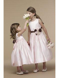 Ball Gown Scoop Tea-length Satin Flower Girl Dresses 401024