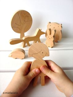Handmade wooden toy set Girl and forest friends  Our toys are safe, ecological, natural and long lasting. Simple design, playful and small size