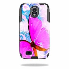 Skin Decal Sticker for OtterBox Commuter Samsung Galaxy S4 Case Pink Butterfly