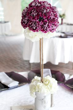 DIY Wedding Topiary Centerpieces i can do this but wrap ribbon around the middle part so the stick can't show and it won't be ugly Topiary Centerpieces, Floral Centerpieces, Wedding Centerpieces, Wedding Crafts, Diy Wedding, Dream Wedding, Wedding Ideas, Wedding Stuff, Glamorous Wedding