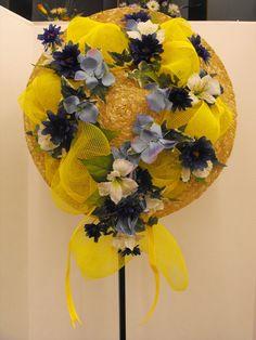Yellow mesh with silk flowers/springtime