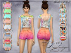 Bright set of clothes Bright summer for your simok. Set includes: denim shorts with a high waist (have the usual 5 colors and 4 color gradient) and top with 9 different color patterns (on the back...