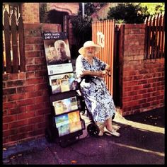 """Our dear sister Kay, 89, preaches in front of her home in Newcastle, NSW. So far she has started three Bible studies! Jehovah blesses our efforts in wonderful ways! Thanks @leearna_zammit for the beautiful photo""←←← previous pinner"