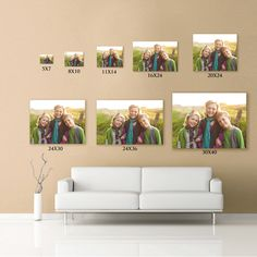 Canvas wall display with sizes for above couch. Frames On Wall, Wall Collage, Picture Wall, Photo Wall, Wall Canvas, Canvas Prints, Canvas Size, Gallery Wall Layout, Gallery Walls