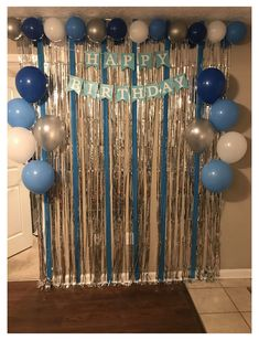Happy Birthday Decor, Birthday Party Decorations For Adults, 18th Birthday Party, Blue Birthday, Diy Party Decorations, Diy Birthday Backdrop, Flur Design, Birthday Balloons, Fiesta Party