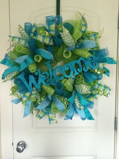 Spring/Summer Deco Mesh Wreath, Welcome Wreath, Everyday Wreath, Teal Lime Green Wreath, Front Door Wreath