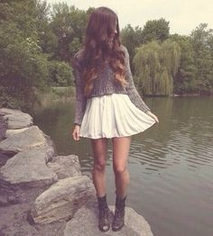 Grey jumper, skater skirt and boots