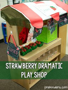Strawberry Dramatic Play Shop for Pre-K, Preschool, and Kindergarten kids. How to set it up and make chalkboard signs. Dramatic Play Themes, Dramatic Play Area, Dramatic Play Centers, Fantasy Play, Play Shop, Teaching Kindergarten, Preschool Curriculum, Play Centre, Lessons For Kids