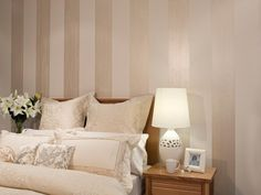 Bedroom Feature Wall - Pearl Stripes - Inspirations Paint: Mobile