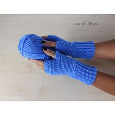 Wool women's gloves, crochet fingerless gloves, blue gloves, crochet... ($12) ❤ liked on Polyvore featuring accessories and gloves
