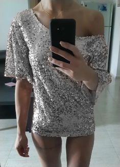 0e9270b2b22a07 Silber Pailletten Glitzer One Shoulder Rundhals Halblanger Schöne T-Shirt  Damen Mode Top - T