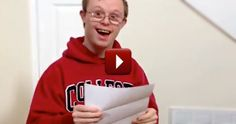 A boy with Down's Syndrome gets accepted into college, just watch his reaction.