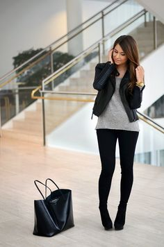 Black Moto Jacket + Gray Sweater + Black skinnies + black booties
