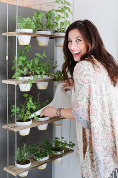 Make this Custom Potted Hanging Herb Garden. An easy DIY for your home made from…, Make this Custom Potted Hanging Herb Garden. An easy DIY for your home made from…, Hanging Herb Gardens, Hanging Herbs, Hanging Pots, Diy Hanging, Vertical Gardens, Hanging Shelves, Hanging Baskets, Herb Garden Pallet, Diy Herb Garden