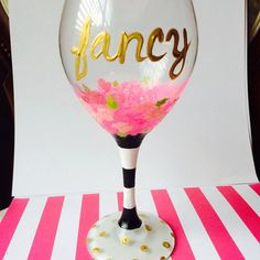 Customizable, girlie pink floral & striped Kate Spade inspired hand-painted wine glass with gold lettering! Perfect for Valentine's Day, baby shower, anniversary, bachelorette party, wedding, birthday, Mother's Day, thank you gift, party, graduation, Christmas, end of the year teacher's gift & more!