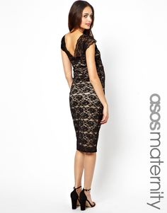 ASOS Maternity | ASOS Maternity Exclusive Lace Midi Dress With Scallop V Back at ASOS