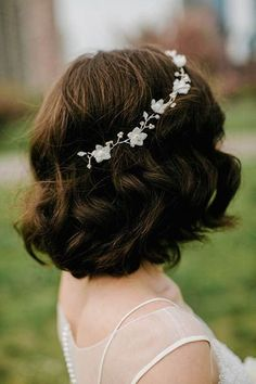 Curly Medium Length Wedding Hairstyle with Headpiece