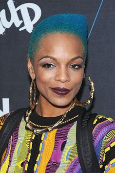 50 Shades Of Rainbow Hair #refinery29  http://www.refinery29.com/colorful-hair-tips#slide-12  Muse to Alexander Wang and rapper-singer-dancer Sharaya J dyes her teal mane herself....