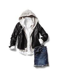 just another day :: white button down, light grey hoodie, leather jacket, long boyfriend jean shorts