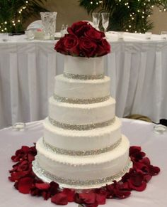 bling wedding cakes | Five tiers bling bling borders and red roses cake topper and rose ...