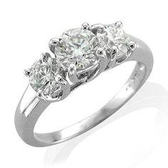 1/2 carat 3 Stone Diamond Engagement Ring Band in 14k White Gold (HI, I1-I2)