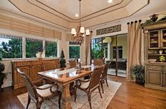 """Vertical """"straps"""" on valance look sharp and could be used to cover seams. Amalfi I mediterranean-dining-room"""