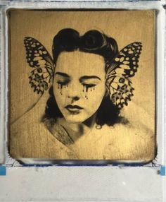 "Saatchi Art Artist Andrew Millar; Collage, ""Butterfly collector 24ct gold leaf Polaroid collage"" #art"
