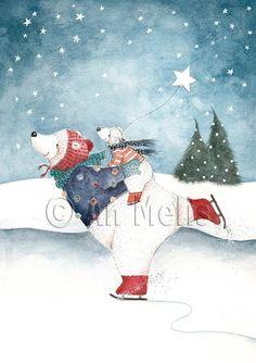 Nieuwjaarsbrief An Melis Illustration Noel, Winter Illustration, Christmas Illustration, Christmas Mood, Christmas Cats, Christmas Greetings, Christmas Drawing, Christmas Paintings, Theme Noel