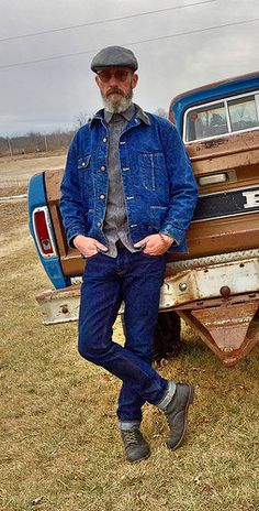 44b1bfa72bee19 Brave Star Selvage Denim, Vintage Blue Bell Chore Coat, Salt and Pepper  Chambray Work Shirt, Red Wing Iron Ranger Boots.