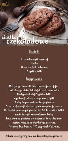 Przepis na ciastka czekoladowe Helathy Food, Pin On, Easy Snacks, Diy Food, No Cook Meals, Food Inspiration, Love Food, Sweet Recipes, Food Porn