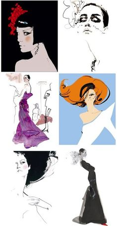 Fashion illustration doesn't get any better than David Downton. A master of the brush stroke his work is timeless, capturing the beauty of his models with the simplest of lines. #illustration #fashion #david #downton #erin #sketch