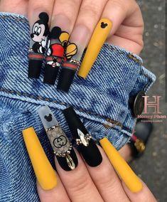 Disney Acrylic Nails, Bling Acrylic Nails, Acrylic Nails Coffin Short, Summer Acrylic Nails, Best Acrylic Nails, Bling Nails, Swag Nails, Gel Nails, Edgy Nails