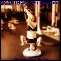 Headstand on a bosu ball? NOTHING'S IMPOSSIBLE! Bosu Ball, Yoga, Beauty, Beauty Illustration