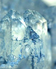 Blue Smectite on Faden Quartz Crystals.  ❦ CRYSTALS ❦ semi precious stones ❦ Kristall ❦ Minerals ❦ Cristales ❦