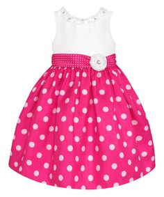 Look what I found on #zulily! Hot Pink & White Polka Dot Dress - Toddler & Girls by American Princess #zulilyfinds
