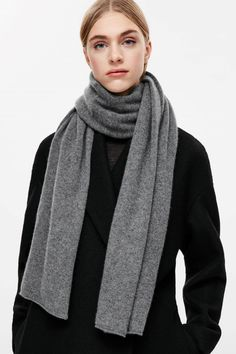 COS image 3 of Cashmere scarf in Grey