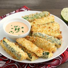 Crispy Baked Zucchini Fries with Sriracha Lime Mayo by @Tracey Wilhelmsen (Tracey's Culinary Adventures)