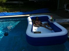In ground pool plus inflatable pool equals outdoor waterbed!!!!!