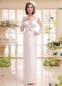 GLAMOROUS VENICE LACE SATIN TULLE V-NECK NECKLINE NATURAL WAISTLINE SHEATH WEDDING DRESS SEXY BRIDAL GOWN CUSTOM
